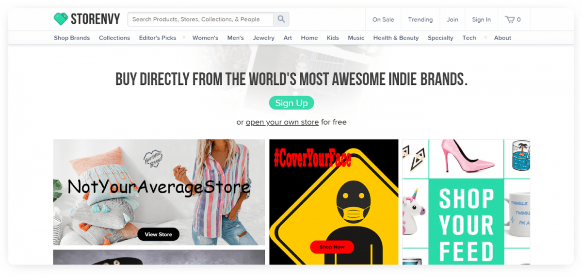 The homepage of Storenvy
