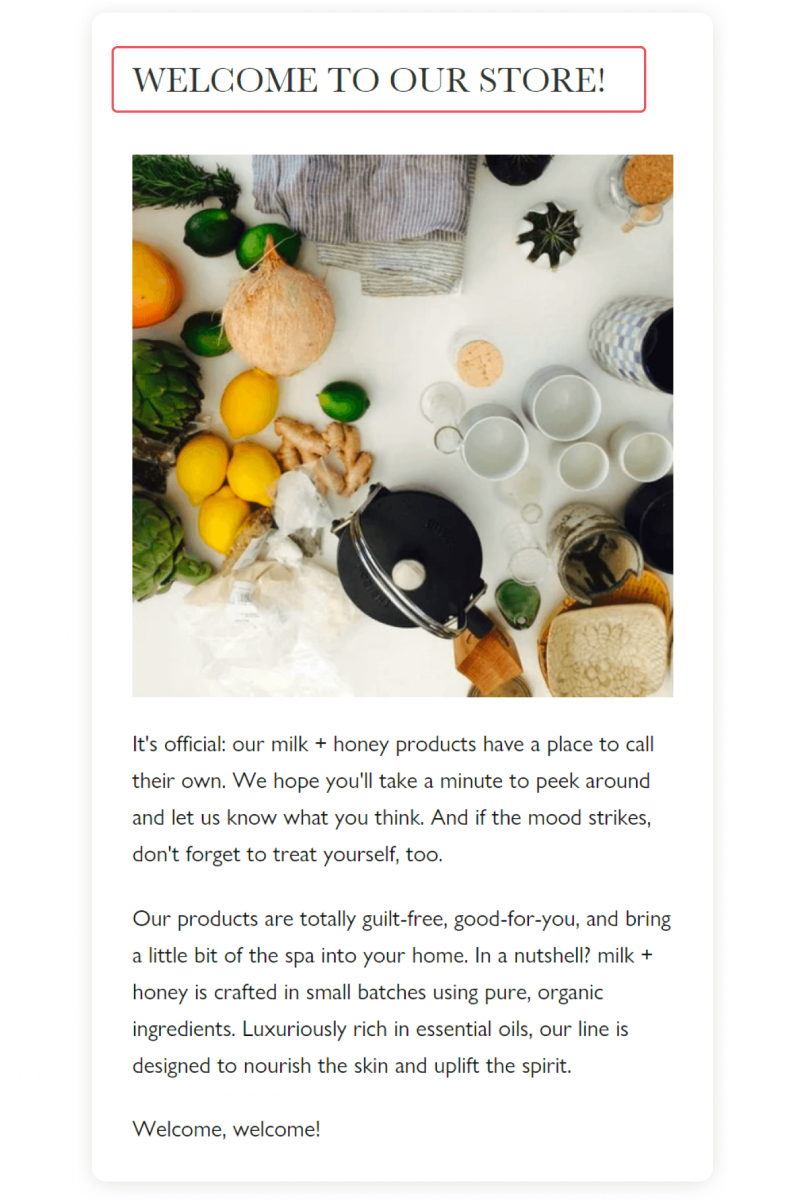 Welcome to our store message on a website