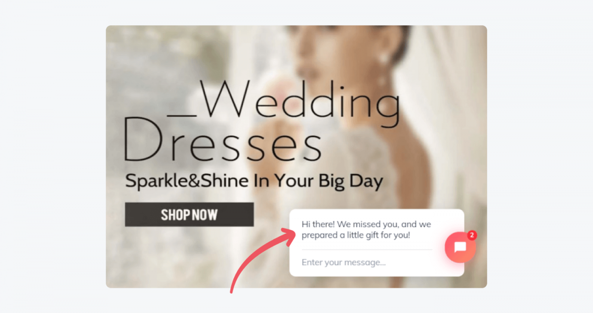 Wedding Dresses store's example of a welcome message