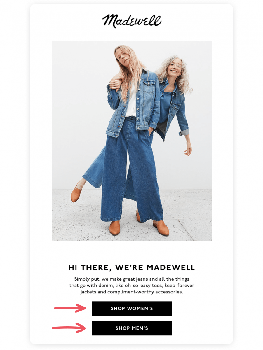 Welcome email from Madewell that encourages recipients to start shopping
