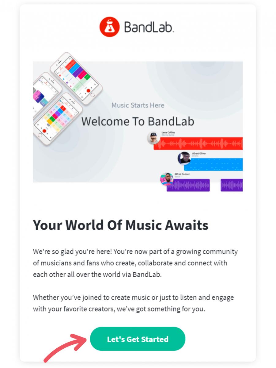 An example of welcome email that has a CTA button