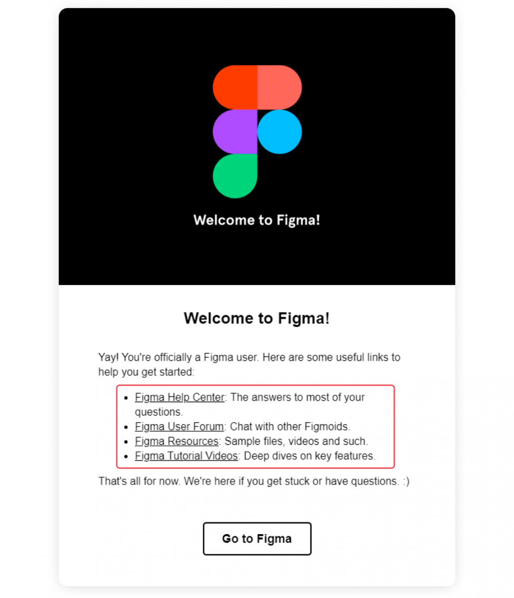 Welcome email from Figma