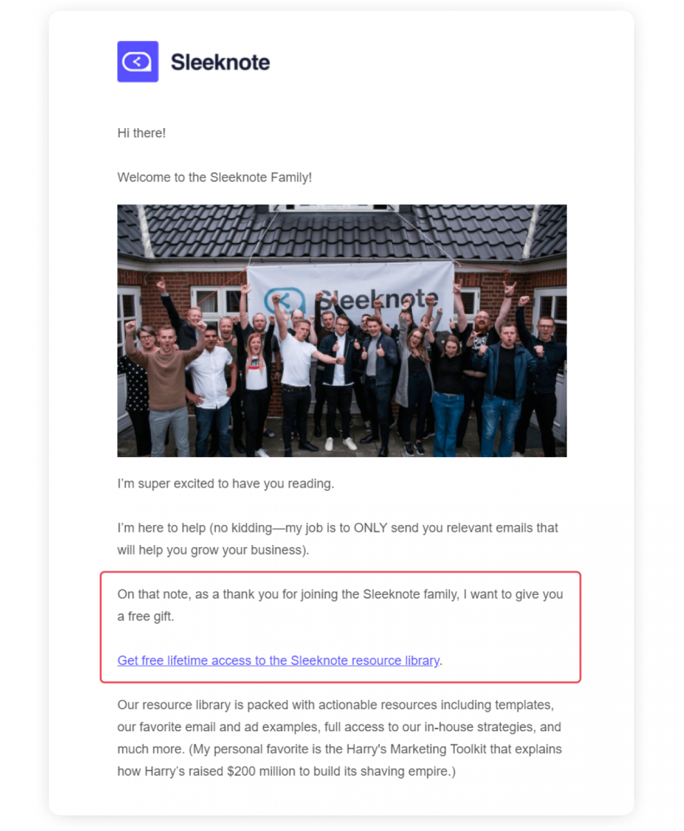 An example of onboarding email from Sleeknote