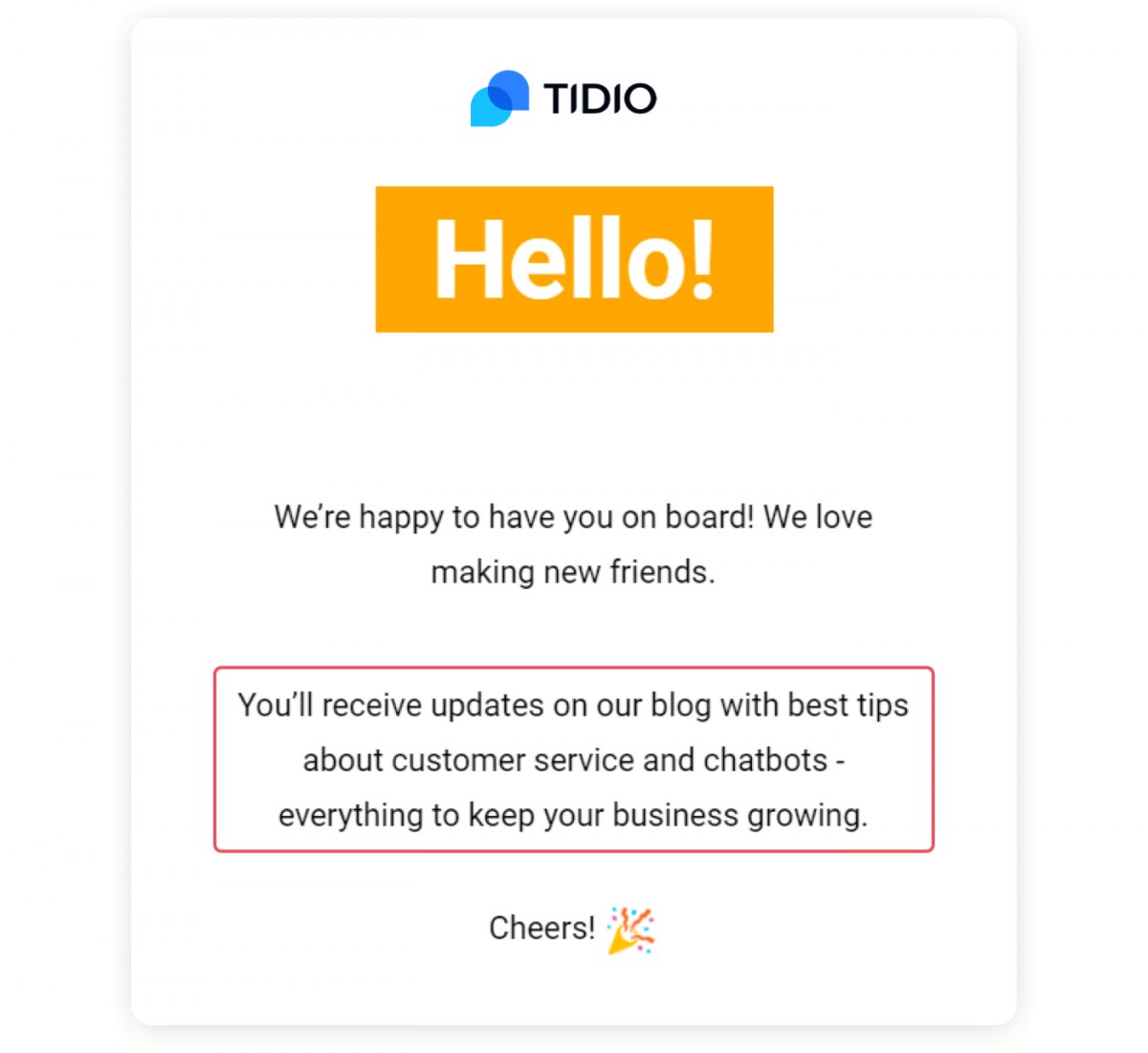 A newsletter welcome message
