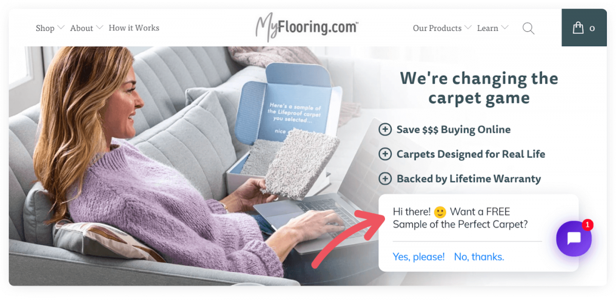 An online store that uses a chatbot to send welcome messages