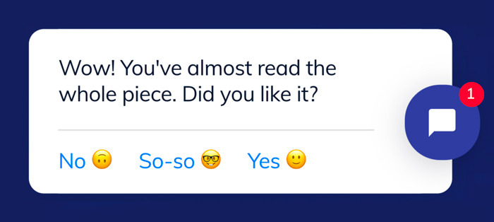 Collecting customer feedback with a welcome message chatbot