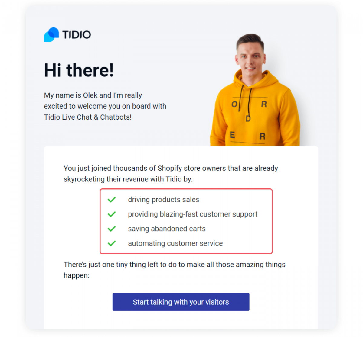 An example of onboarding email that shows customer value proposition