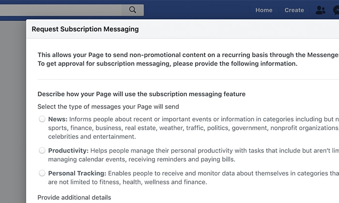 Describe how your Page will use the subscription messaging feature