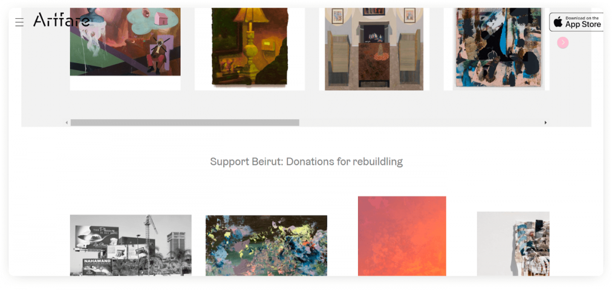 The homepage of Artfare