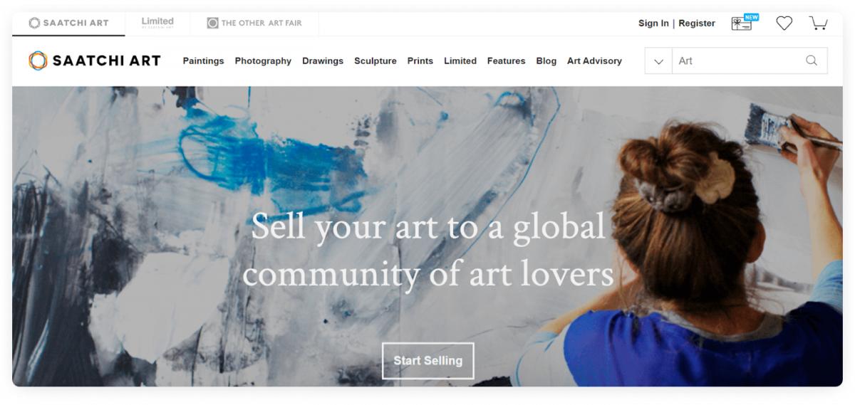 The homepage of Saatchi Art