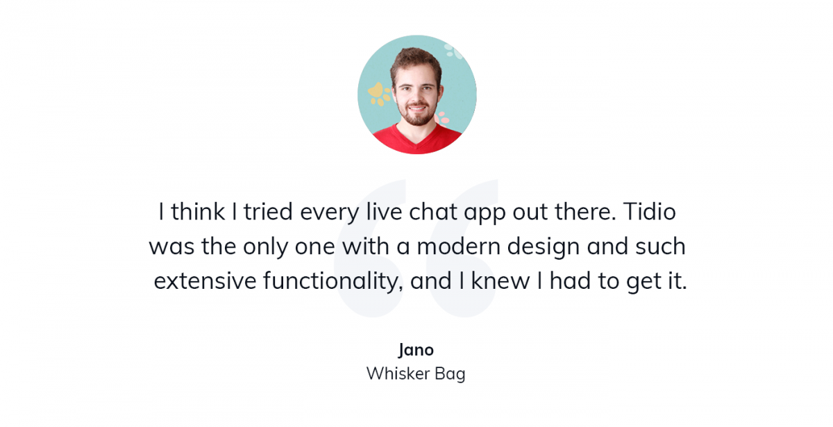 A quote about using Tidio for customer service