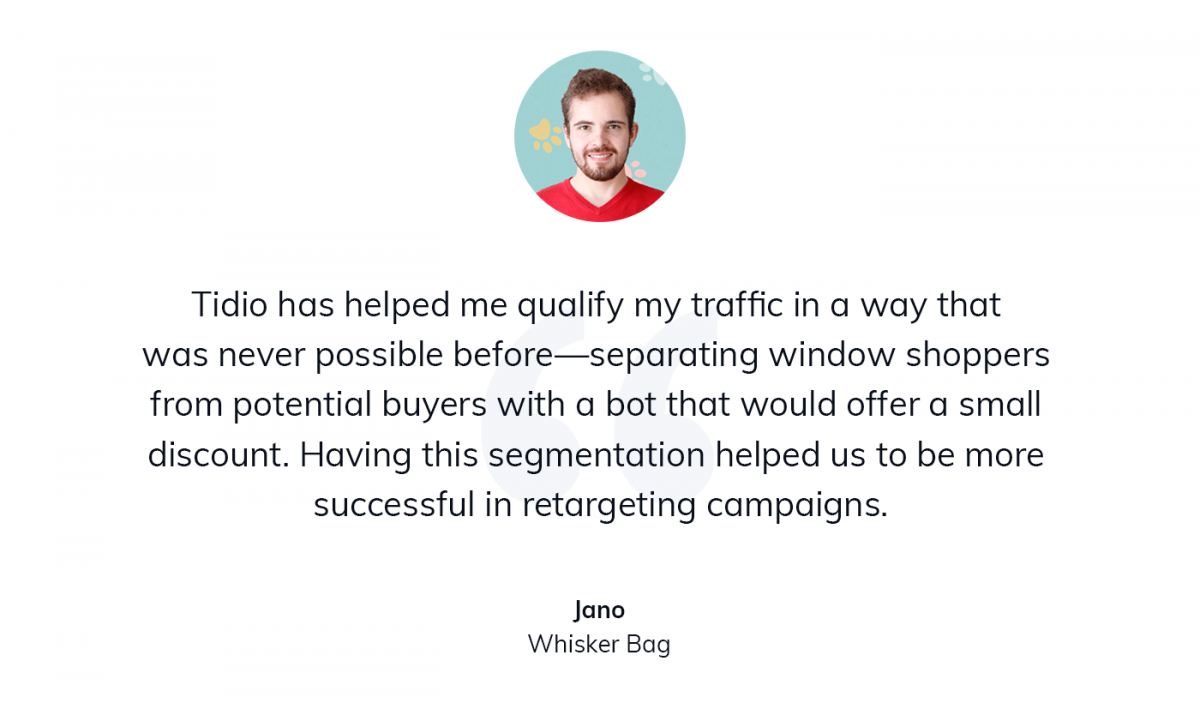A quote about using Tidio as a customer service tool for helping people choose the right cat transport bag