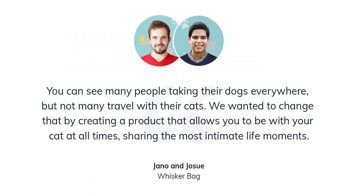 A quote from the founders of Whisker Bag about traveling with cats and dogs