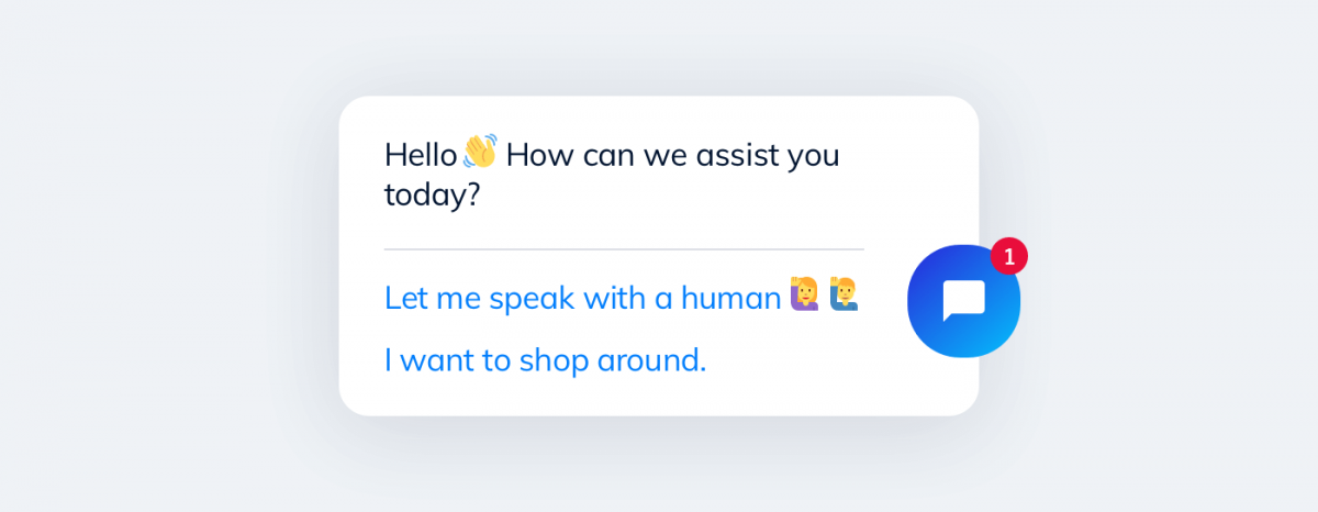 A bot used by digital transformation company to greet new customers