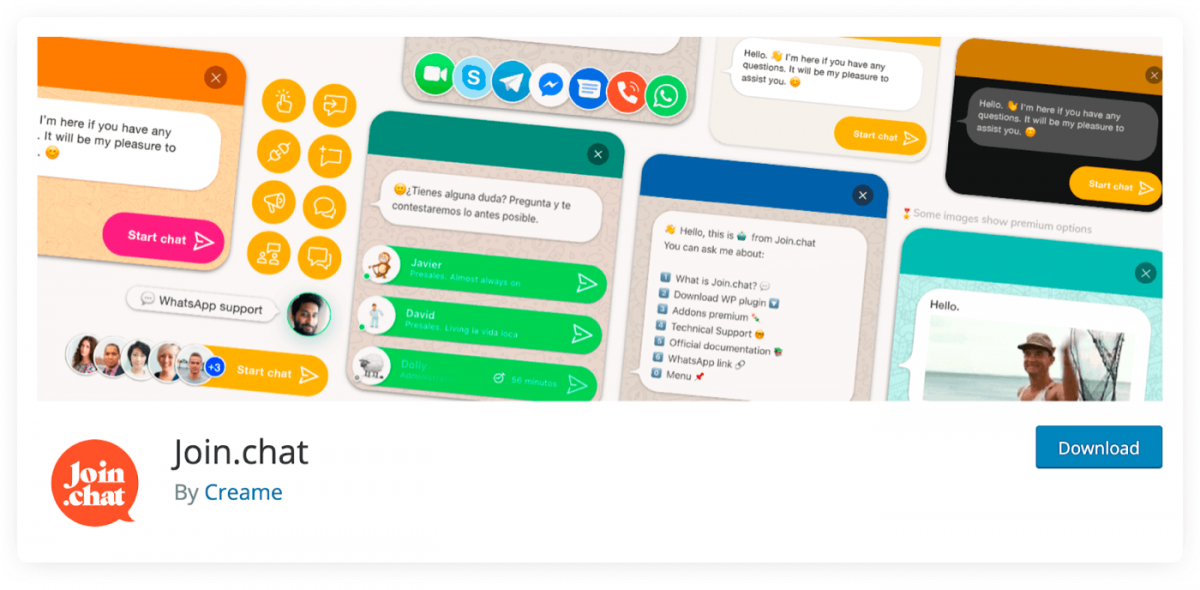 Join.chat chatbot plugin for WordPress