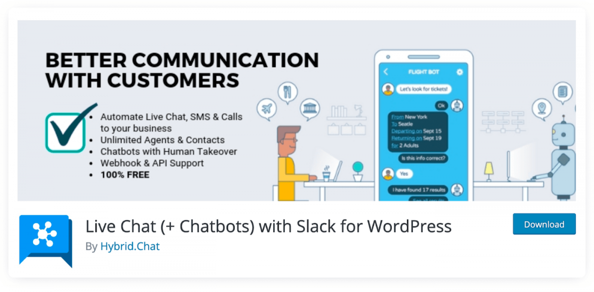 WordPress Chatbots by Hybrid.Chat