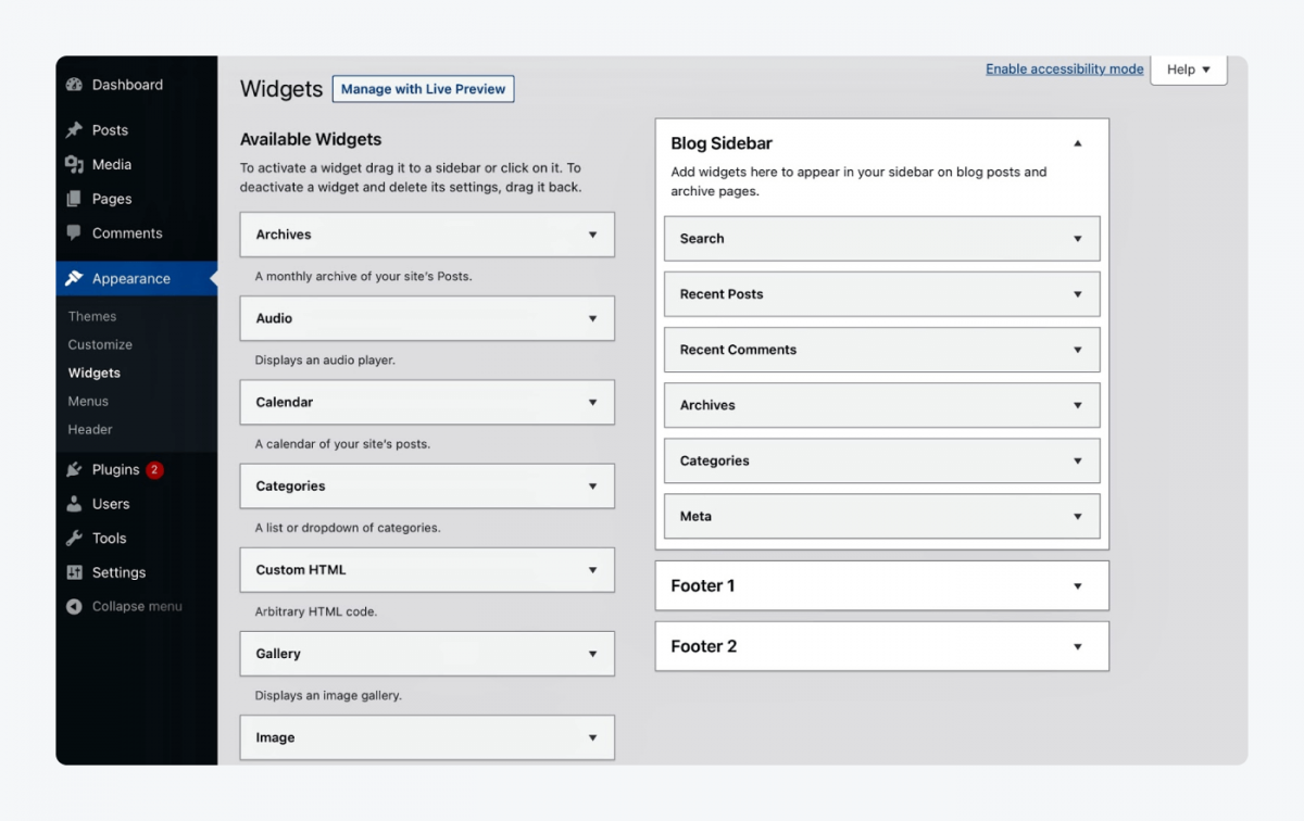 page with widgets, available widgets, blogg sidebar