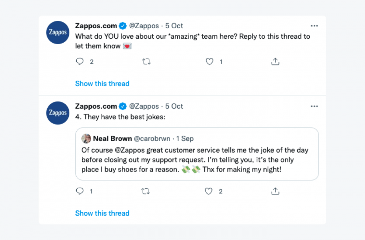 Zappos's reply to a customer's tweet