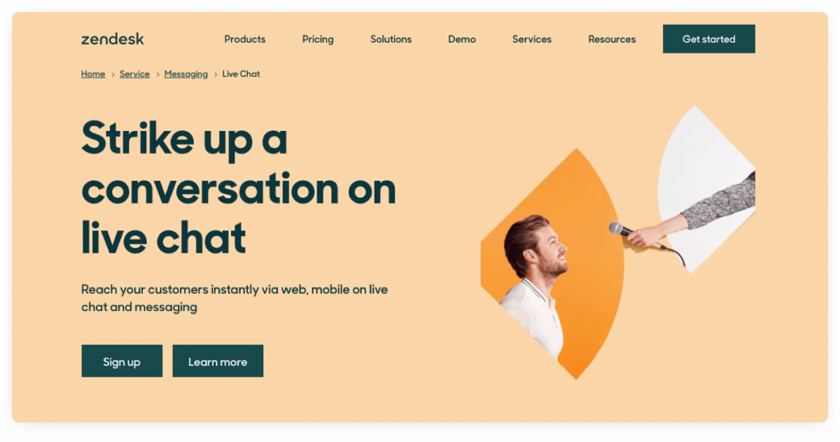 Zendesk product page screenshot