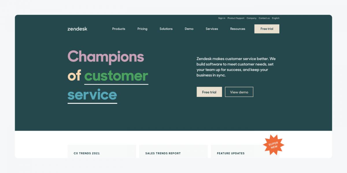 Zendesk's homepage