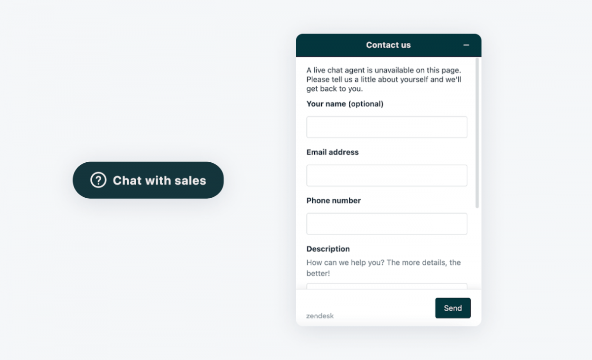 Zendesk chat widget and icon