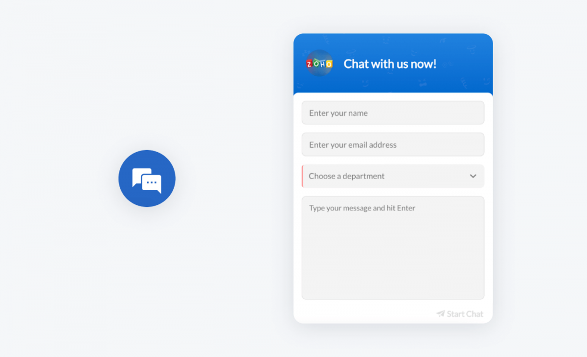Zoho desk chat widget and icon