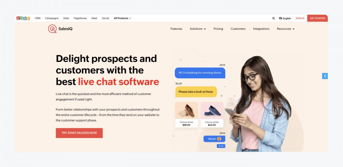 Zoho SalesIQ's homepage